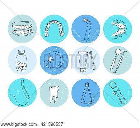 Dental Tools And Instruments Set In Doodle Style.medical Blog.round Hand Drawn Highlights For Social