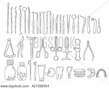 Dental Tools And Instruments In Doodle Style.line Art Icon Set.orthodontic Prosthetics And Filling,d