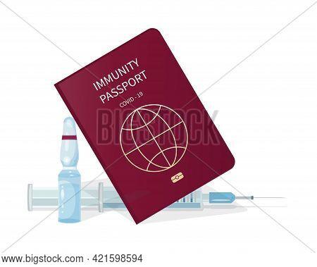 Coronavirus Vaccine. Immune Passport. Vector Syringe And Vaccine Ampoule. Medical Document