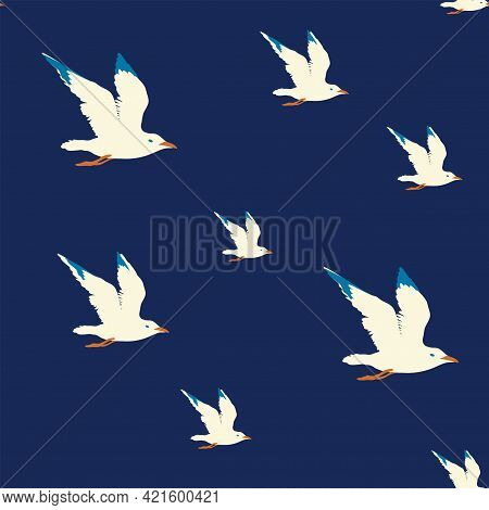 Seamless Sea Pattern With Flying Nautical Birds - Marine Seagulls. Vector Summer Background With Whi