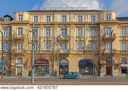 Belgrade, Serbia - February 14, 2021: Belgrade City Hotel Building At Sava Mala In Belgrade, Serbia.