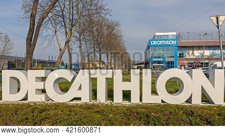 Belgrade, Serbia - April 1, 2021: Big 3d Letters Sign Decathlon Sports Store In Belgrade, Serbia.