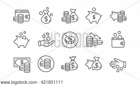 Coins Line Icons. Cash Money, Donation Coins, Give Tips Icons. Business Income, Piggy Bank, Loan. Mo