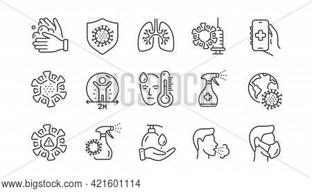 Coronavirus Line Icons. Medical Mask, Washing Hands, Corona Virus Symptoms. Social Distance, Hand Sa