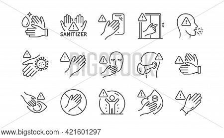 Touch Warning Line Icons. Stop Touch Face, Eyes And Medical Mask. Covid Cough Symptoms, Wash And Dis