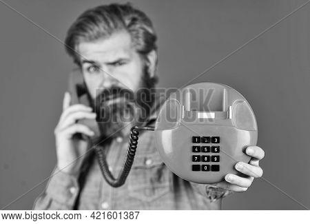 Man Talking To Vintage Phone. Businessman Talking On Vintage Phone. Buy New Gadget. Phone Business C