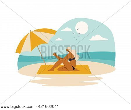 Woman In A Swimsuit Sitting On The Beach By The Ocean. Woman At The Beach. Vector Illustration Carto