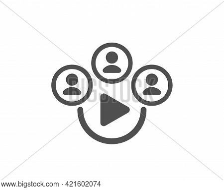 Video Conference Simple Icon. Online Meeting Sign. Video Teamwork Symbol. Classic Flat Style. Qualit