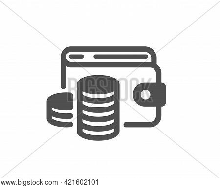 Wallet Money Simple Icon. Cash Coins Sign. Business Income Symbol. Classic Flat Style. Quality Desig