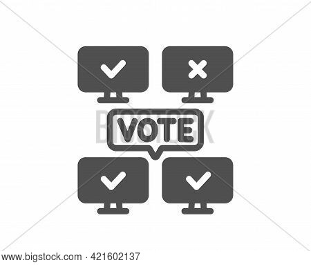 Online Voting Simple Icon. Internet Vote Sign. Web Election Symbol. Classic Flat Style. Quality Desi