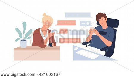 Couple Of Young Man And Woman With Mobile Phones Chatting Online. Boyfriend And Girlfriend Sending L