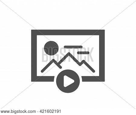 Start Presentation Simple Icon. Photo Image Thumbnail Sign. Picture Placeholder Symbol. Classic Flat