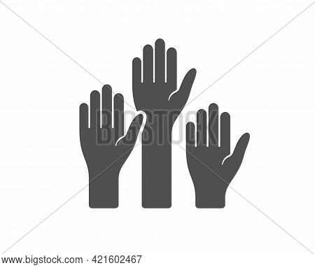 Voting Hands Simple Icon. People Vote By Hand Sign. Public Election Symbol. Classic Flat Style. Qual