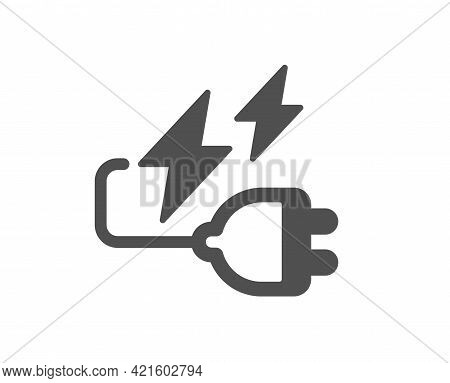 Electricity Plug Simple Icon. Energy Type For Battery Sign. Lightning Bolt Symbol. Classic Flat Styl