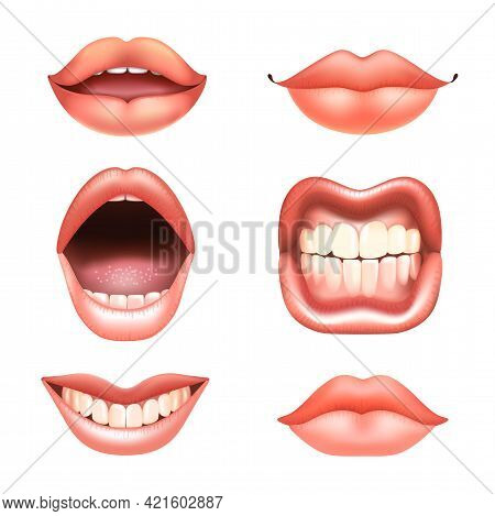 6 Beautiful Female Nude Lips With Teeth For Different Designs. Pink Lipstick Color. Relaistic Vector