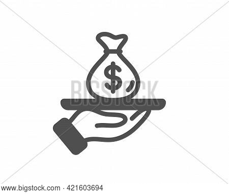 Loan Simple Icon. Business Mortgage Sign. Money Bag On Plate Symbol. Classic Flat Style. Quality Des