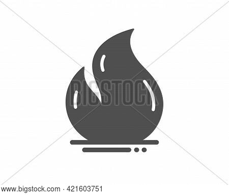 Fire Energy Simple Icon. Heating Power Energy Sign. Hot Flame Symbol. Classic Flat Style. Quality De