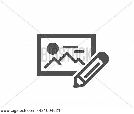 Photo Edit Simple Icon. Image Thumbnail With Pencil Sign. Picture Placeholder Symbol. Classic Flat S