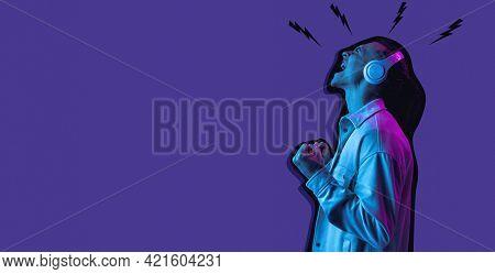 Contemporary Art Collage, Modern Design. Retro Style. Man On Purple Studio Background In Magazine St