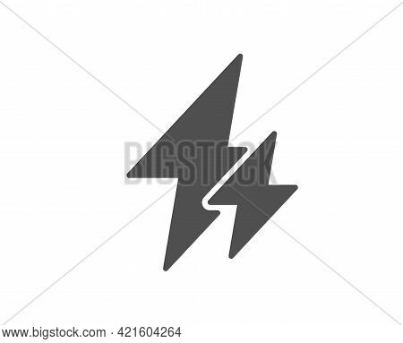 Electricity Simple Icon. Electric Power Energy Type Sign. Lightning Bolt Symbol. Classic Flat Style.
