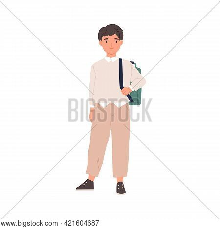 Portrait Of Happy Smiling Schoolboy With Schoolbag. School Boy Standing In Sneakers, Trousers, Shirt