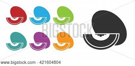 Black Melon Fruit Icon Isolated On White Background. Set Icons Colorful. Vector