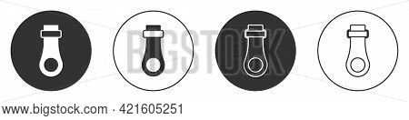 Black Zipper Icon Isolated On White Background. Circle Button. Vector