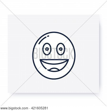 Grinning Face Line Icon. Smiled Face, Emoticon With Smiling Eyes. Outline Drawn Sign. Facial Express