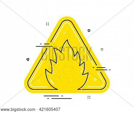 Fire Attention Icon. Isolated Yellow Triangle Flammable Attention Sign. Flame Alert Warning Icon. Fi