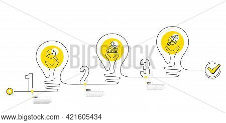 Continuous Line Timeline With Lamp Light Bulbs And Icons. 3 Steps Idea Journey Path Of Business Proj