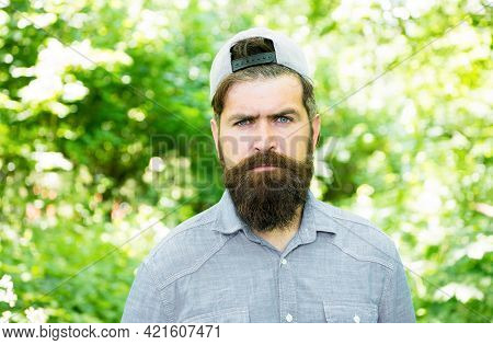 Life Changing. Barber. Hispter Style. Fashion Portrait Of Man. Hair Beard Care. Guy In Forest. Summe