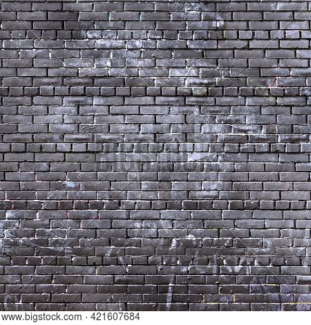 Dark Grunge Brick Background. Old Worn Brickwork Fence Surface Texture.