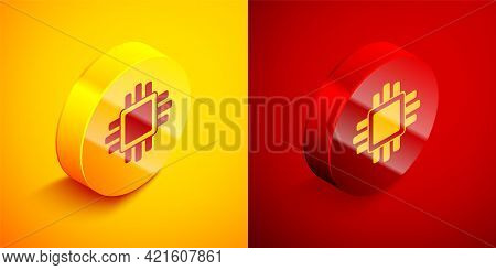 Isometric Computer Processor With Microcircuits Cpu Icon Isolated On Orange And Red Background. Chip