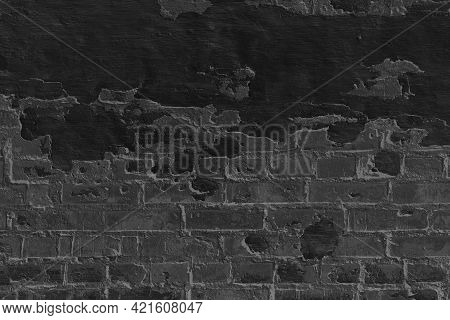 Grunge Black Brickwork Background. Old Weathered Wall. Grungy Grey Brick Covered With Plaster And Ce