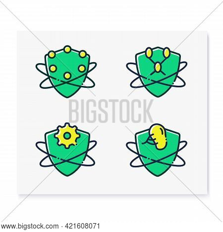 Immune System Line Icons Set. Immunology Concept. Complement And Lymphatic System, Adaptive Immunity