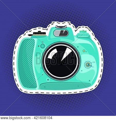 Green Beautiful Cute Instant Print Camera , Manual Camera On A Purple Violet Pop Art Halftone Backgr