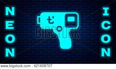 Glowing Neon Digital Contactless Thermometer With Infrared Light Icon Isolated On Brick Wall Backgro