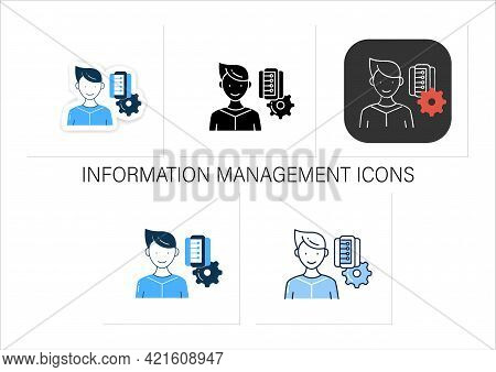 Information Management Icons Set. Collect, Manage, Preserve, Store And Deliver Information. Collecti