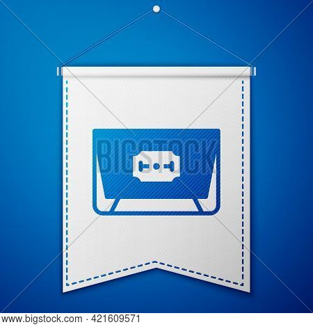 Blue Blade Razor Icon Isolated On Blue Background. White Pennant Template. Vector
