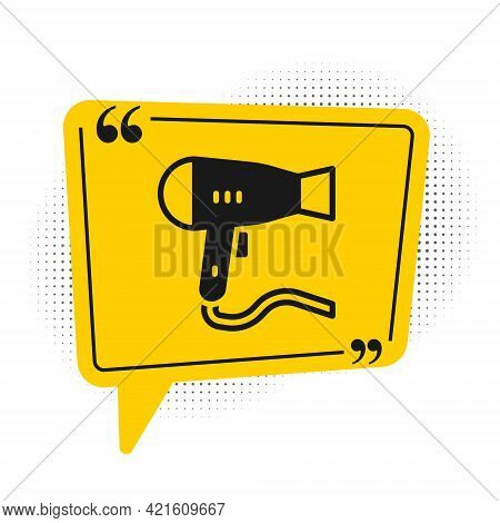 Black Hair Dryer Icon Isolated On White Background. Hairdryer Sign. Hair Drying Symbol. Blowing Hot