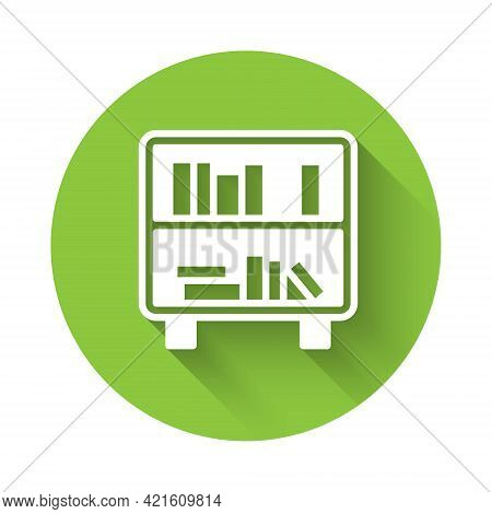 White Shelf With Books Icon Isolated With Long Shadow. Shelves Sign. Green Circle Button. Vector