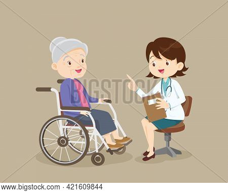 Doctor Talking With Elderly Patient About Symptoms Adult Patient Visiting Doctor