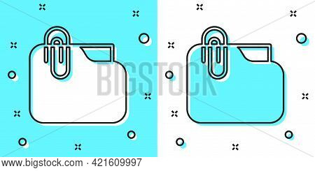 Black Line Document Folder With Paper Clip Icon Isolated On Green And White Background. Accounting B