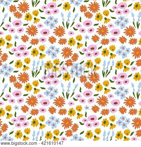 Floral Pattern. Pretty Flowers On White Background. Printing With Small Colorful Flowers. Ditsy Prin