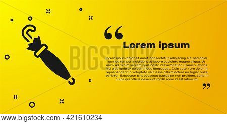 Black Umbrella Icon Isolated On Yellow Background. Insurance Concept. Waterproof Icon. Protection, S