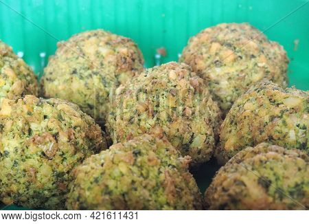 Falafel Traditional Middle Dastern Food, Deep Fried Ball Fritter Made From Ground Chickpeas And Fava