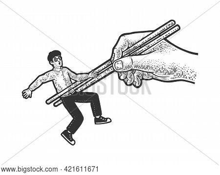 Chopsticks With Man As Food Line Art Sketch Engraving Vector Illustration. T-shirt Apparel Print Des