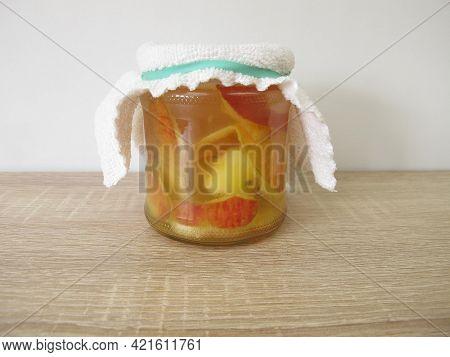 Preperation Of Homemade Apple Cider Vinegar In A Jar