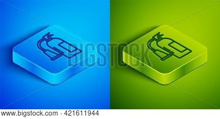 Isometric Line Fire Extinguisher Icon Isolated On Blue And Green Background. Square Button. Vector