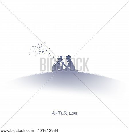 People Silhouette In Heaven. Death And Afterlife. Isolated Ink Element